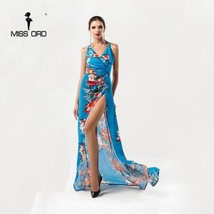 Missord  2021 sexy V-neck Sleeveless halter printing split dress FT5176