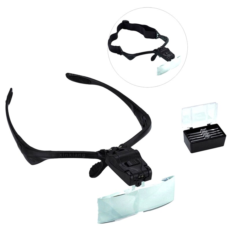Maquillaje permanente negro diadema lupa gafas de extensión de pestañas de luz LED lupa gafas mano 5 Juegos lentes lupa