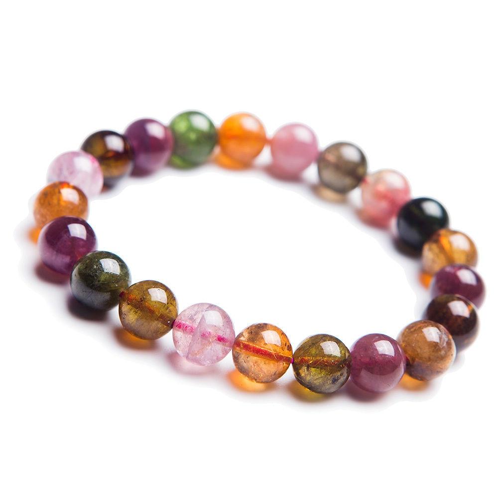 Frete grátis natural brasil colorido turmalina cristal claro contas pulseira 9mm aaaa