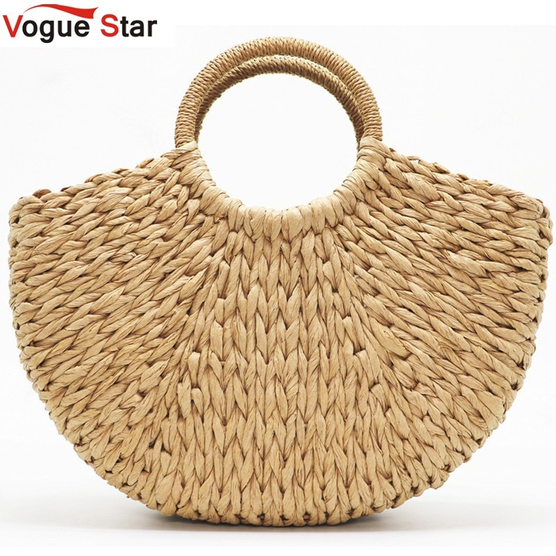 Handmade Beach Bag Round Straw Totes Bag Large Bucket Summer Bags Women Natural Basket Handbag High Quality Begie black khaki