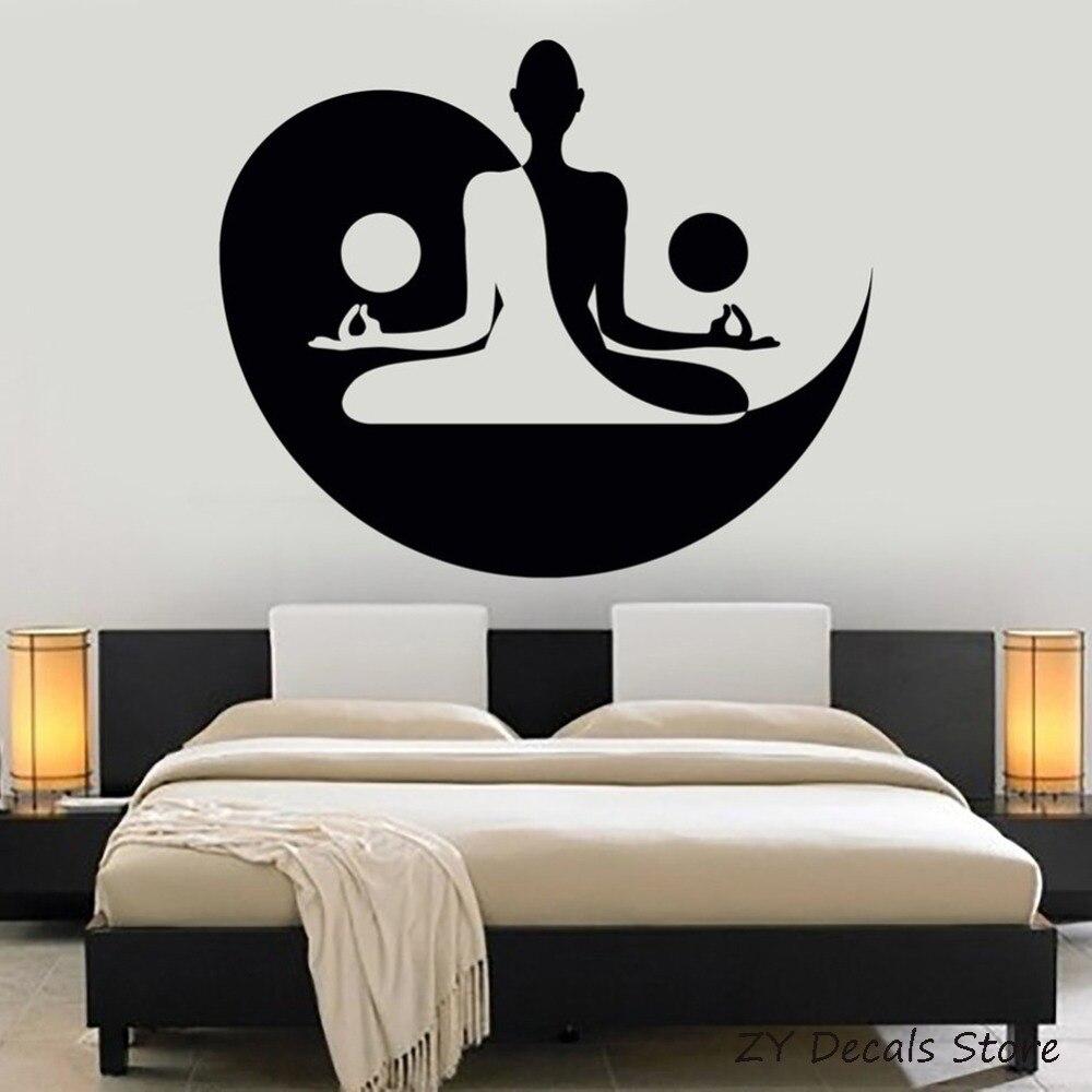 Художественная наклейка Инь Ян, декор для спальни, йоги, дзен, медитация, настенные наклейки, домашний декор, гостиная, спальня, съемные наклейки S728|wall sticker|decorative wall stickersdecoration living room | АлиЭкспресс