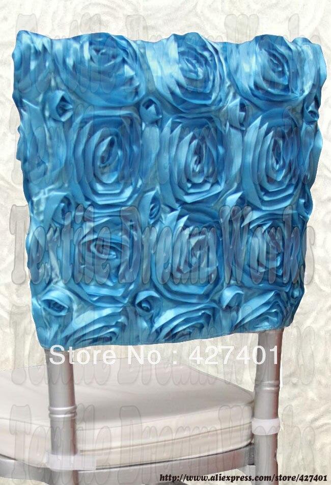 Do aqua Blue Satin Rosette Cadeira Chiavari Hoods/Cadeira Caps/Braçadeira Voltar/Cadeira Sash Para O Casamento Event & Party & Banquet Decoração