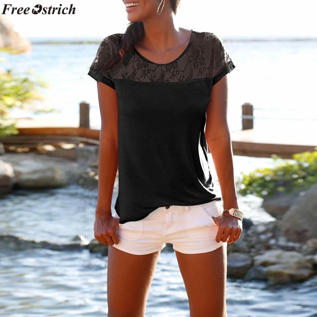 OSTRICH-Camiseta con cuello redondo de verano para mujer, camiseta de encaje a la moda, pantalón corto negro ajustado, camiseta de manga corta informal, tops de talla grande