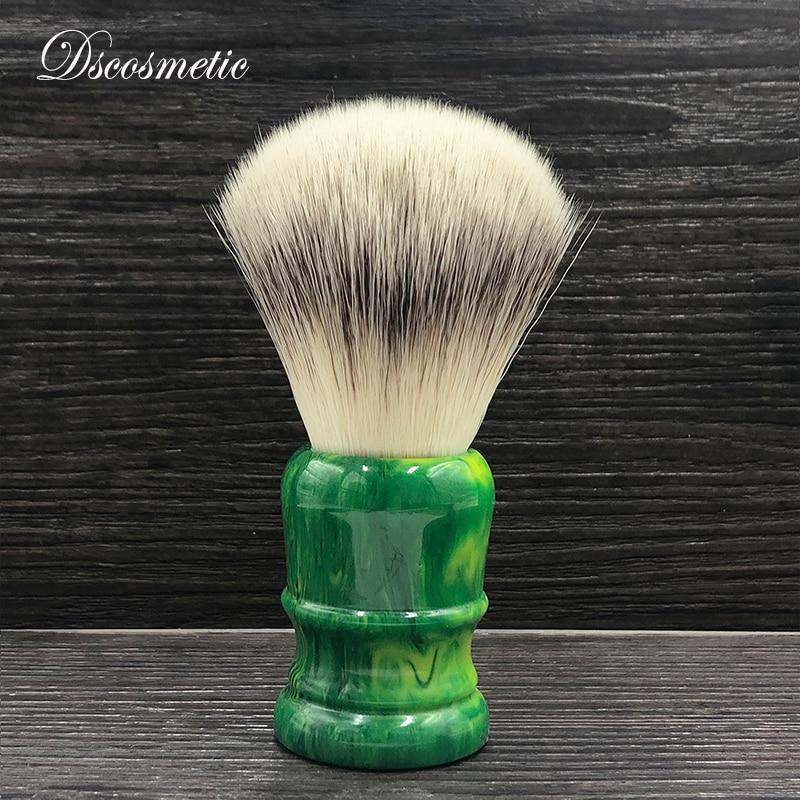 dscosmetic 24mm 26mm soft synthetic hair knots green resin handle Men's Shaving Brush traditional wet shaving tool