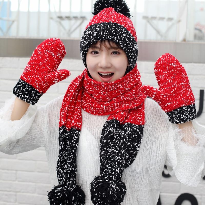 Feliz Navidad invierno gorro de punto con bola grande mujeres lana esquí conjunto de gorro y bufanda viento evitar caliente ciclismo boina bufanda guantes Set