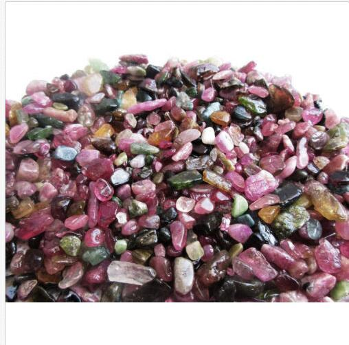 Cristal de cuarzo de turmalina, 5-9mm caído, 1/2 lb, Mini piedras a granel, turmalina roja