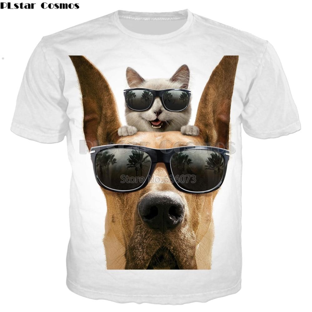 PLstar Cosmos 2019 verano nuevo estilo de moda de hombre Camiseta animales gato con gafas de sol 3D los hombres casuales de las mujeres bien t camisa