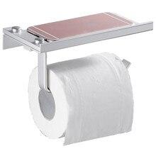 Support mural en aluminium pour téléphone Mobile   Porte des toilettes en forme carrée, rouleau de papier, accessoires de salle de bain
