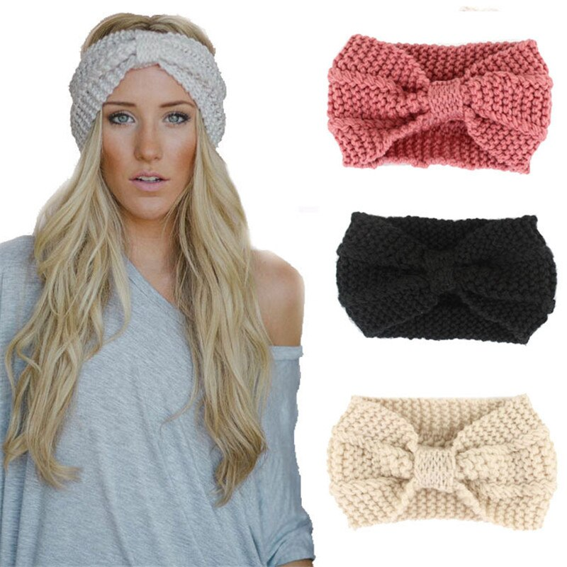 1 pc Moda Headband Mulheres Inverno Mais Quente Senhora Crochet Bowknot Acessórios Turbante De Malha Cabeça Envoltório Hairband Handmade Headhand