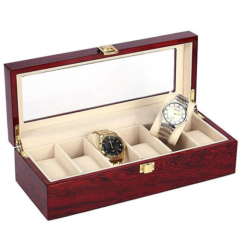 6 الخشب علبة عرض الساعة صندوق زجاج مجوهرات التخزين المنظم هدية الرجال