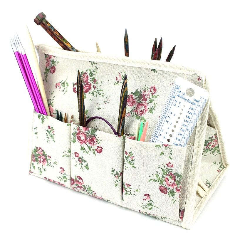 Bolsa de herramientas de tejer, caja de soporte de escritorio de lino, bolsa de almacenamiento multifunción resistente al agua con 6 bolsillos, bolsa de almacenamiento para agujas e hilos