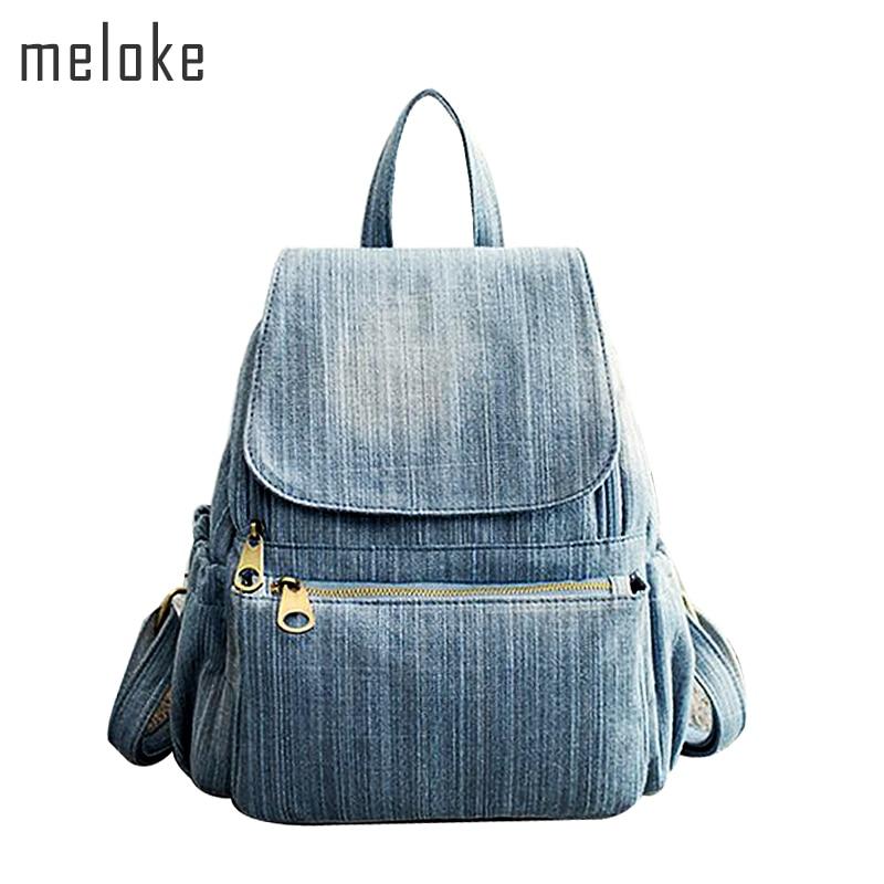 2021 High Quality Vintage Washed Denim Backpack Multifunctional Travel Bag For Girls School Bags 6 Styes Mochila Bolsa