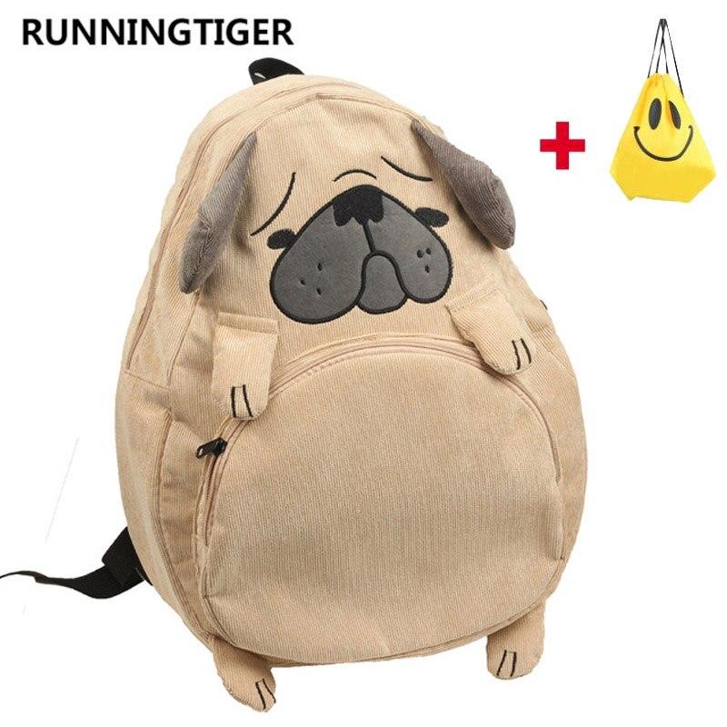 La nueva escuela mochila lindo perro oreja de zorro bordado de pana mochila mujeres Vintage mochila para portátil para las niñas de la escuela bolsa