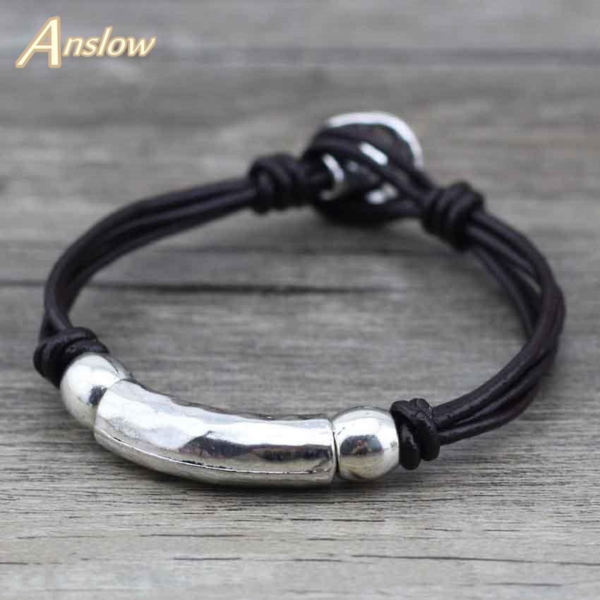 Anslow-Pulsera de cuero estilo pirata para hombre, Brazalete con ancla de aleación,...