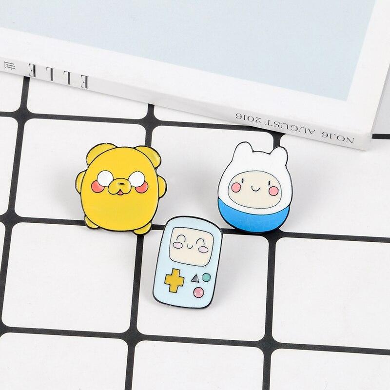 Cartoon Character Enamel Pins Brooch BMO the Robot Finn and Jake Pins Badges Cartoon Anime Brooches Gift For Women Men Children