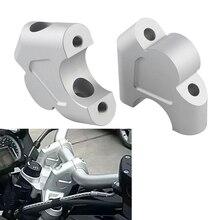 2 piezas de montura de manillar de plata Barra de manillar extensible de aleación de aluminio CNC manija de barra accesorios Par adecuado para motocicletas