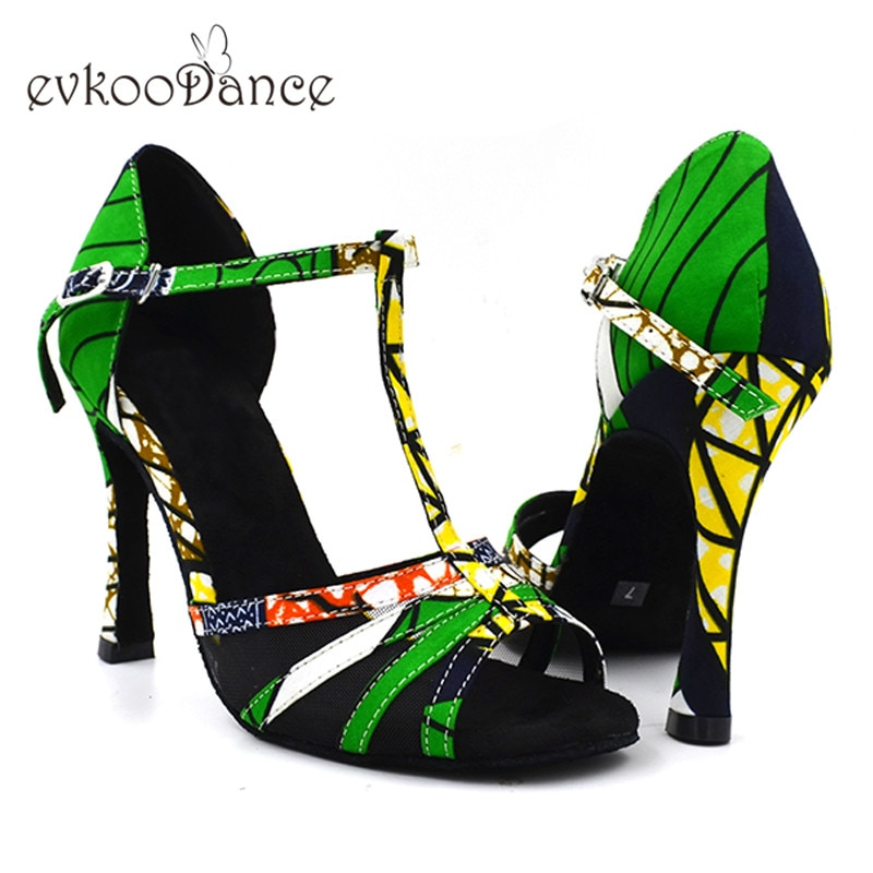2017 Women Professional Green African Print High Heel 10 cm soft outsole Satin Salsa Ballroom Latin Dance Shoes for ladies NL163