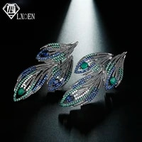 lxoen ethnic green wings feather drop earrings inlay green and blue zircon earring pulseras mujer christmas gifts jewelry bijoux