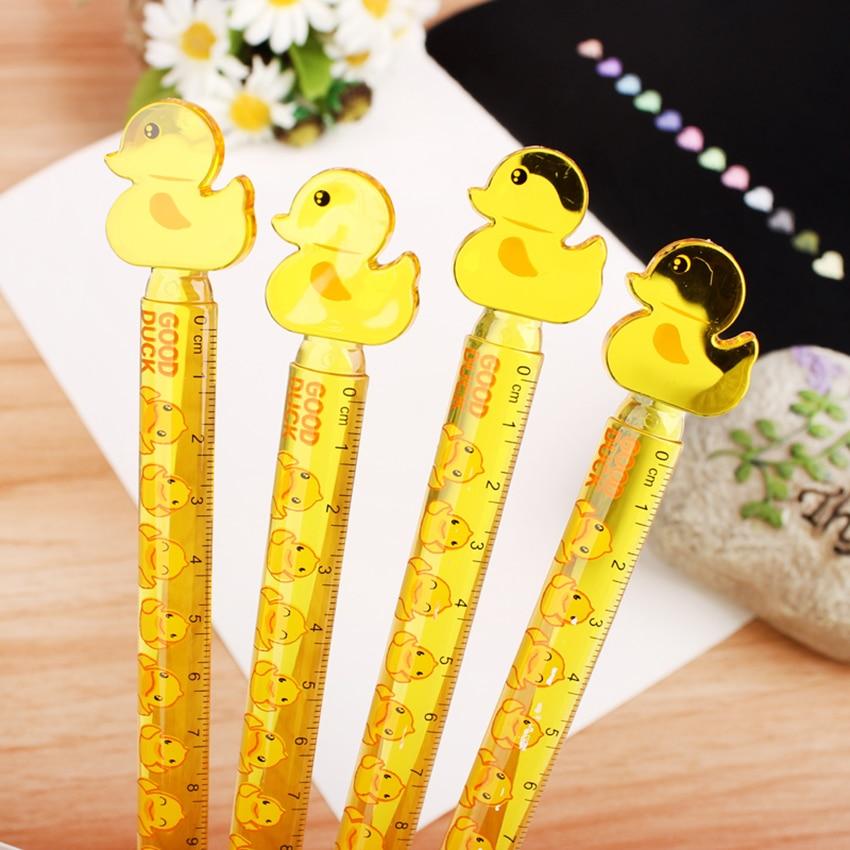 Bonito pato amarillo plástico recto regla de dibujo herramientas de medición de dibujos animados papelería 12cm regla de báscula transparente estudiante premios nuevo