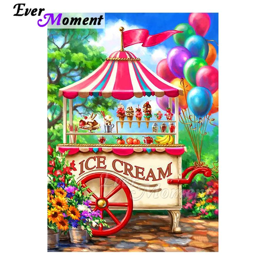 Ever Moment Diamond Painting Ice Cream Balloon Picture Of Rhinestone Mosaic Full Square Drill Diamond Embroidery Decor 3F1547