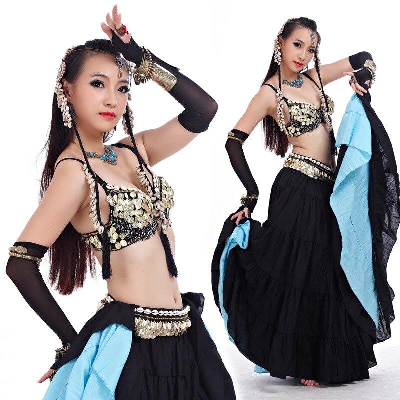 ATS 2016, ropa de danza del vientre Tribal para mujer, conjunto de 4 piezas, conjunto de cuentas antiguas de bronce, sujetador, cinturón, faldas, trajes de danza gitana