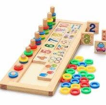1 ensemble nouveauté bébé jouets Montessori en bois blocs éducatifs bébé début apprentissage ensemble denseignement mathématiques formes Cognition