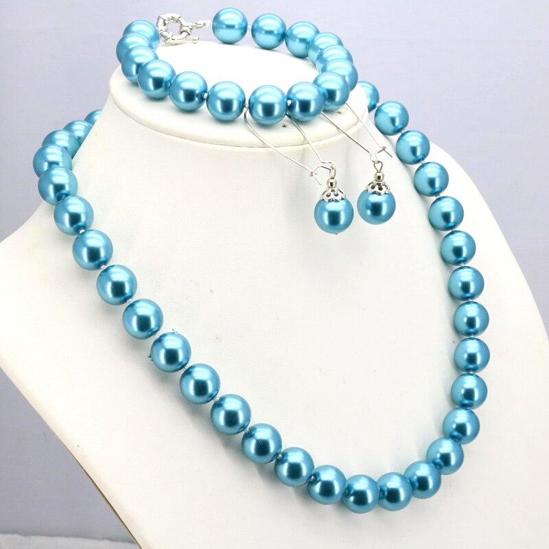 "Azul conjunto colar de pérolas de vidro 12mm colar 18 ""pulseira 7.5"" brinco mulheres moda fazendo design de jóias por atacado e varejo"