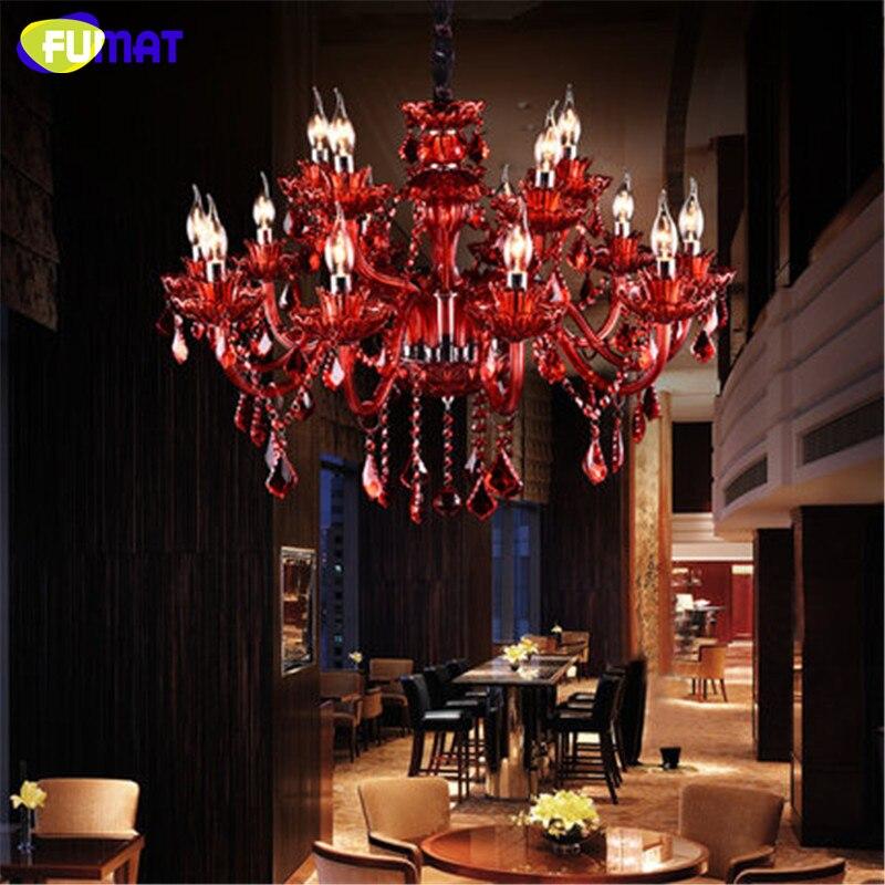 فومات-ثريا كريستال على شكل شمعة ريترو ، مصباح زجاجي أحمر ، مصباح ديكور فني لغرفة المعيشة ، مقهى ، بار ، متجر ملابس