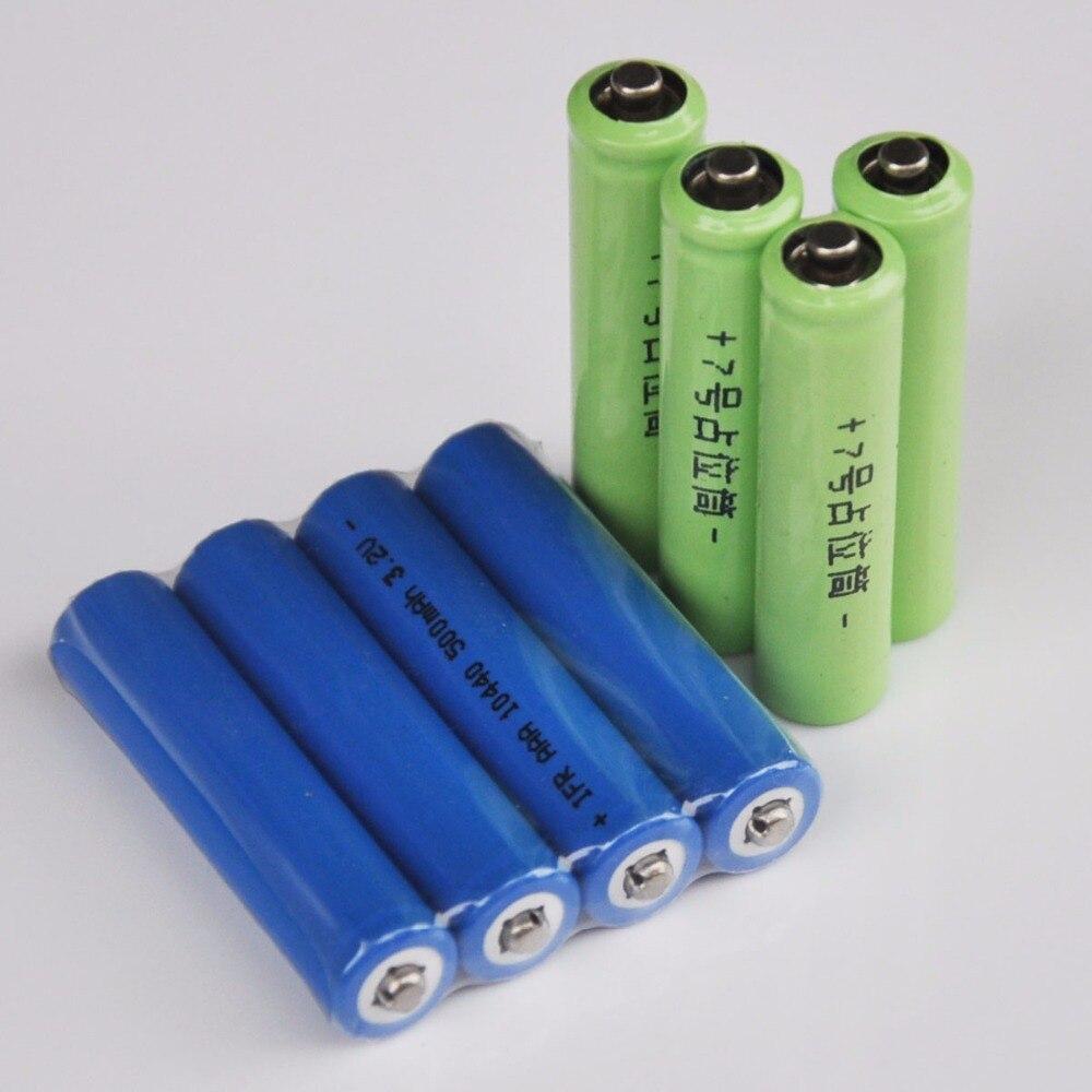 4 шт. IFR 3,2 v 10440 LiFePo4 аккумуляторная батарея 500mah AAA литий-ионная батарея + 4 шт. поддельные батареи для цифровой камеры игрушки