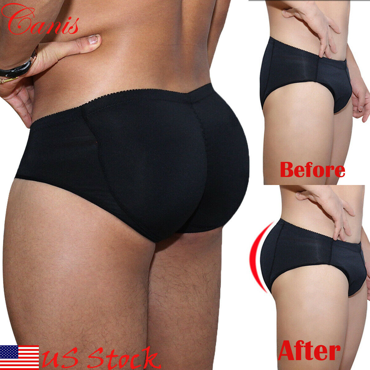 Ropa interior moldeadora de estómago plano potenciador de refuerzo con relleno trasero para hombre