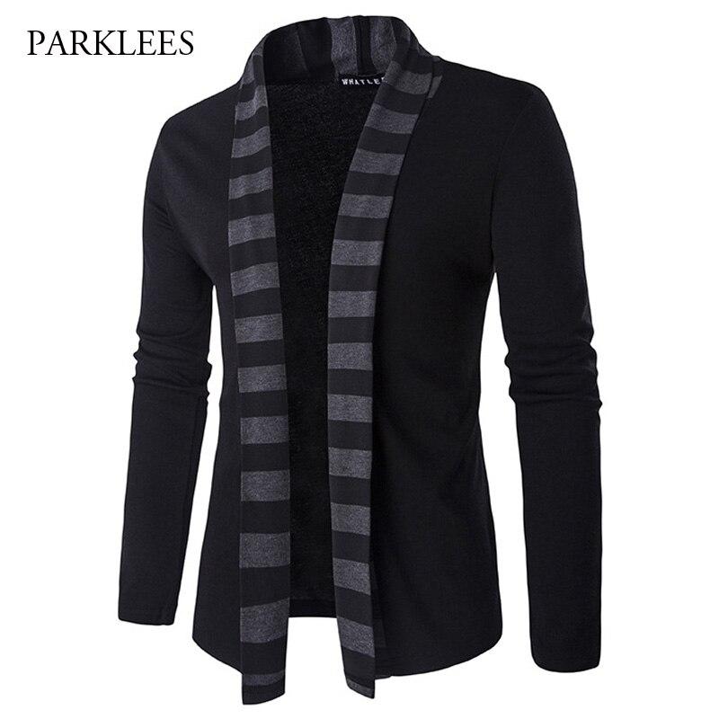 2018 clásico suéter de chaqueta negra para hombres moda de Color de rayas cuello de punto Cardigans para hombre Slim Fit No Button Coat Jacket para hombres