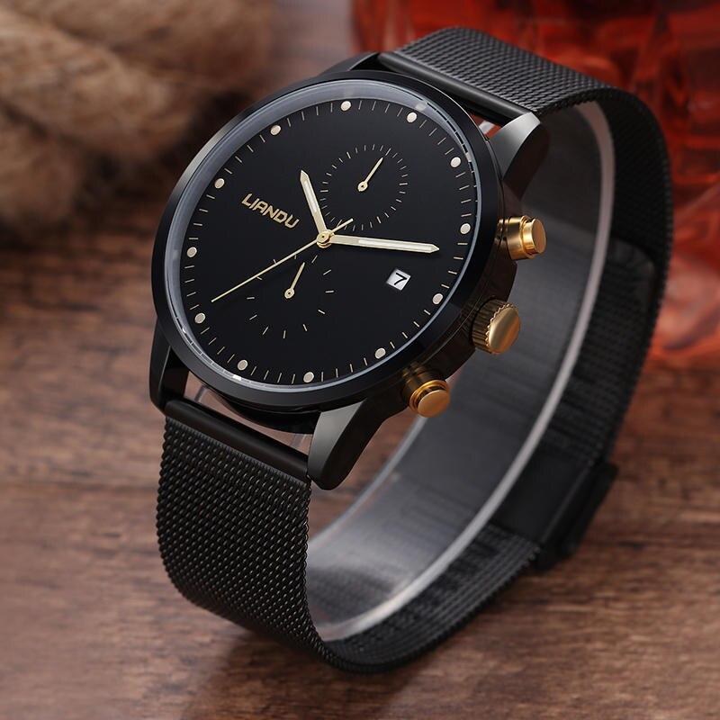 LIANDU Brand Ultra-Thin Stainless Steel Mesh Strap Chronograph Quartz Watch Fashion Casual Waterproof Calendar Mens Watch Clock