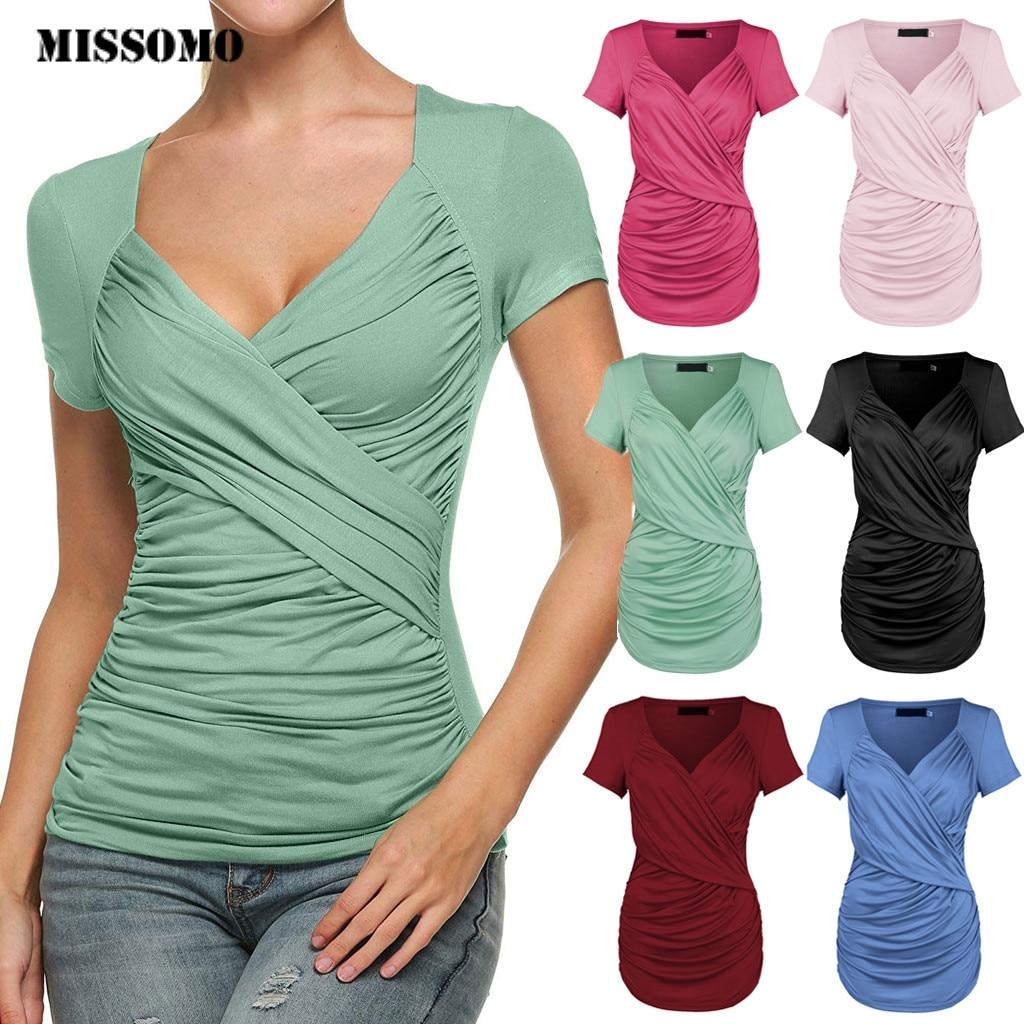 MISSOMO, camisetas para mujer, 3xl, camiseta para mujer, 2019, camiseta para mujer de verano, Sexy, corte bajo, nudo frontal, informal, camiseta ajustada