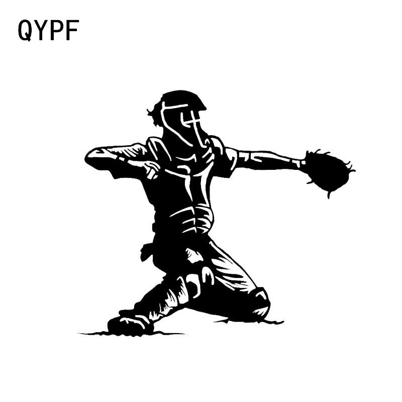 QYPF 13,5*12CM pegatinas interesantes de coches de béisbol de dibujos animados silueta vinilo calcomanías C16-0609