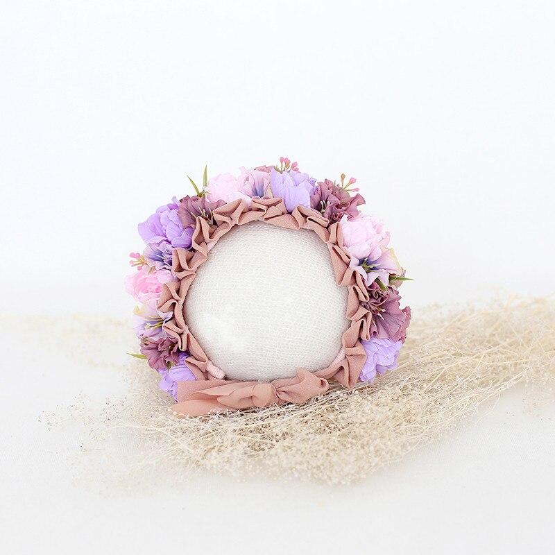 Newborn Floral Bonnet Handmade knitted Baby girl Sitter Flower hat Photography props