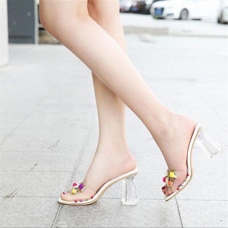 Sandalias de verano BBZAI stiletto, zapatillas de mujer a la moda con pala de cristal transparente, zapatos de tacón cuadrado para mujer, toboganes informales para exterior