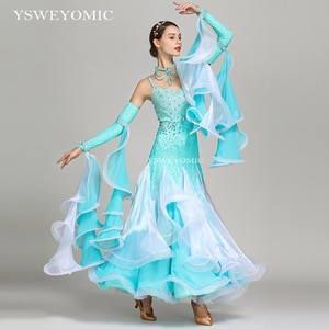 Women Dance Wear Azure Color Standard Ballroom Dress Dance Wear Competition Ballroom Waltz Flamenco Dress