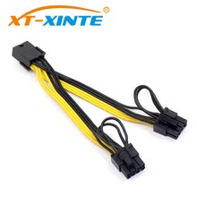 XT-XINTE PCI-E 8pin femelle à 2 ports double PCIE 8pin 6 + 2p mâle GPU carte graphique câble dalimentation cordon 18AWG fil BTC Miner