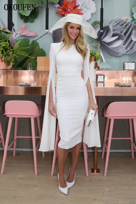 بسيطة أم العروس فساتين 2019 الركبة طول اضافية طويلة الأكمام الأبيض الأزرق غمد vestido دي madrinha farsali abiti ماما