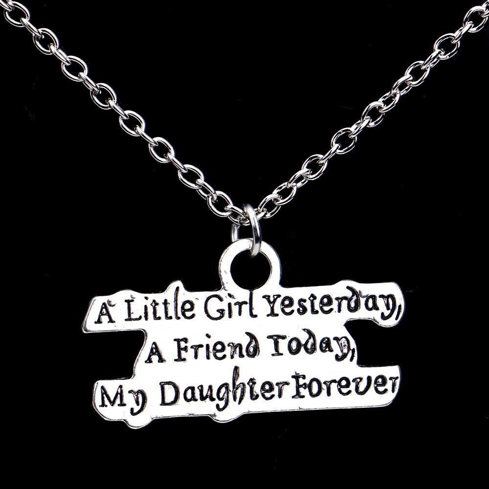 3 uds niña pequeña ayer, un amigo hoy, mi hija siempre colgante amor Collar DE FAMILIA amor de madre su hijo regalos delicados