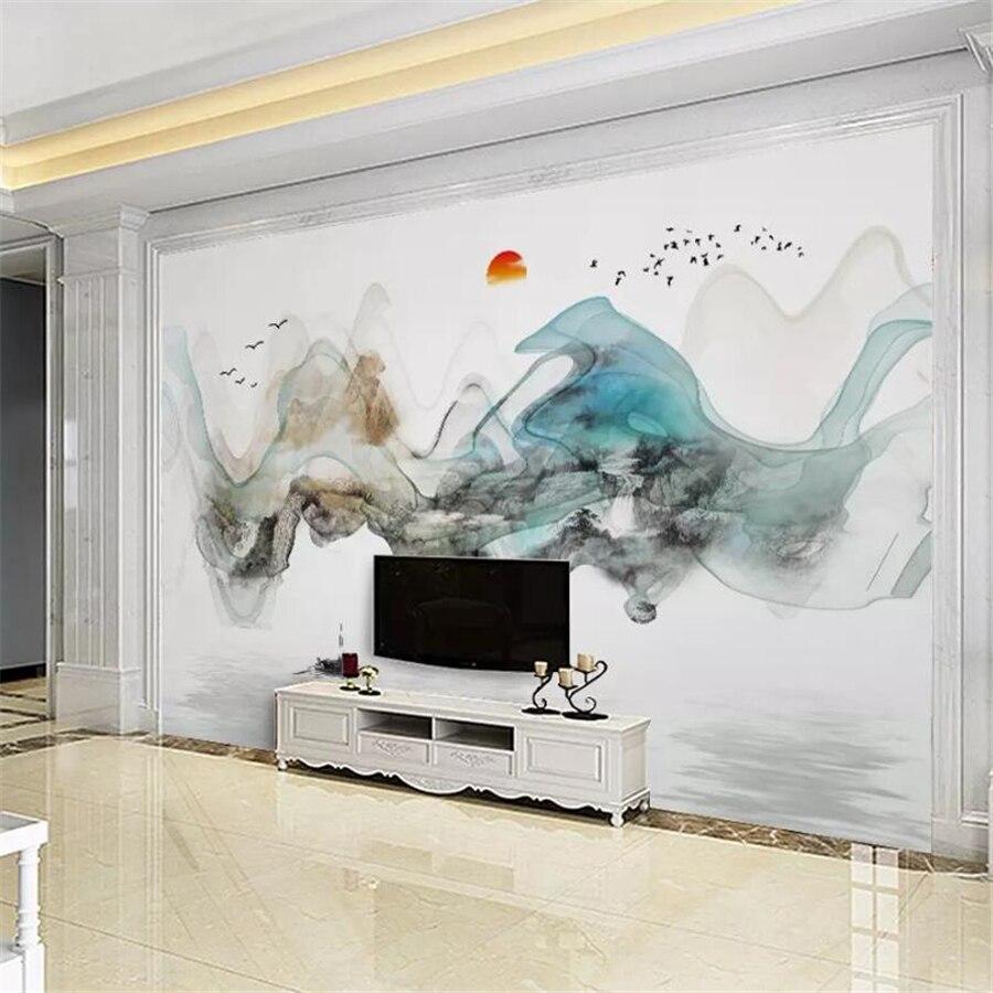 Papel pintado personalizado beibehang, murales 3d, nueva tinta abstracta china, paisaje, pintura al óleo, TV, fondo de pantalla, papel tapiz 3d