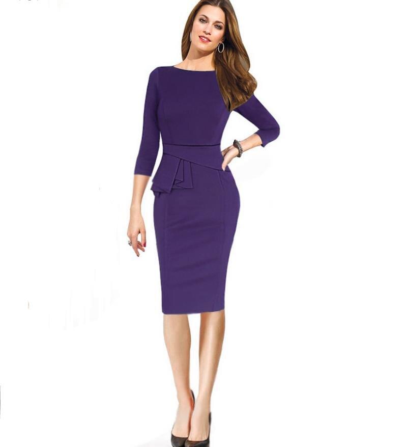 Elegant Fitted Slim Wiggle Career Female Peplum Work Dress 3/4 Sleeve O Neck Women  Fashion Sheath Business Bodycon Pencil Dress