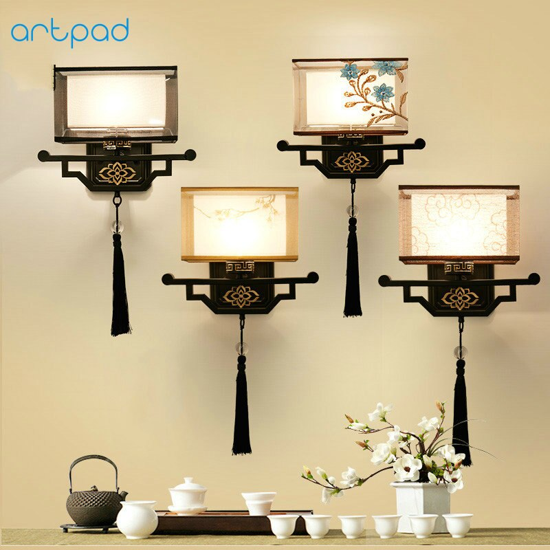 Artpad Traditional Chinese Vintage Bedside Lamp Embroidery Fabric Lamp Shade LED E27 Metal Sconce Wall Lights Hallway Lights
