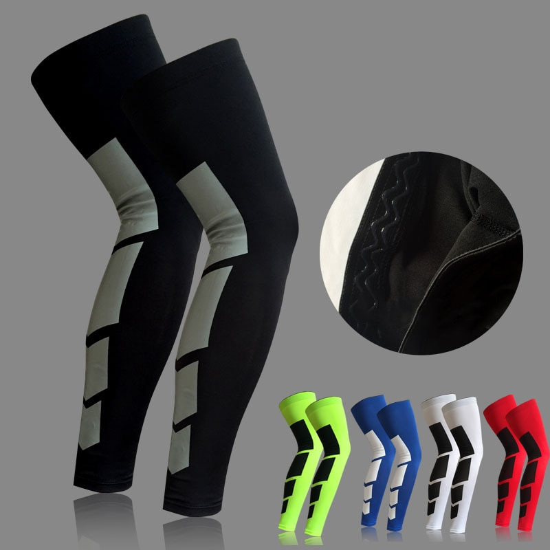 1 stks Pro Sport Siliconen Antislip Lange Knie Brace Pad Protector Sport Basketbal Been Mouw Knie Pad 5 Kleuren