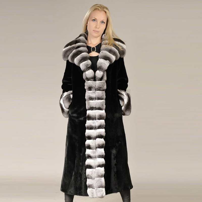 120 سنتيمتر أسود طويل حقيقي الفراء معاطف الجلد كله عالية الجودة المرأة الطبيعية ريكس الأرنب الفراء معطف حقيقي شينشيلا اللون الفراء الزي