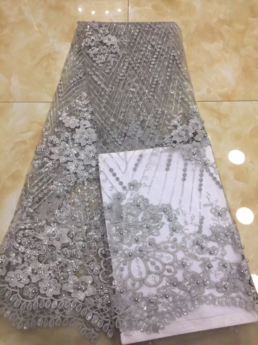 ¡Oferta! tela de encaje elegante pani África, aplique de plata francesa de alta calidad, tul con cuentas 3D, tela de encaje, lentejuelas, ropa real de dubai (419