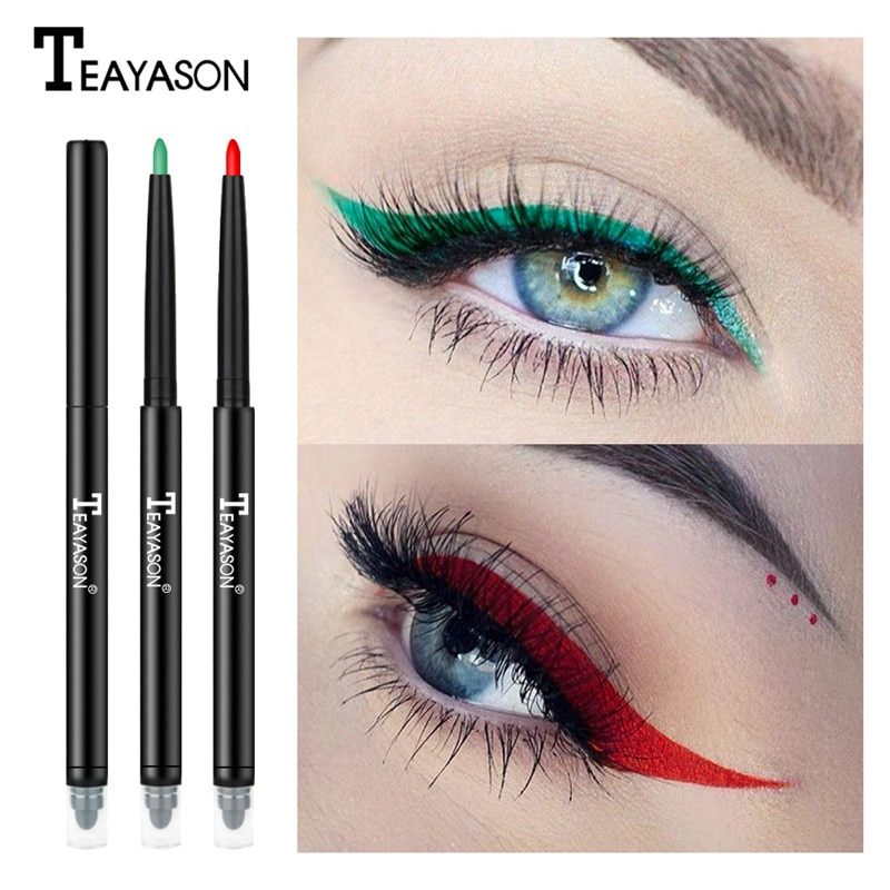 Double-end Colorful Matte Eyeliner Eye Pencil Makeup Crayon Delineador Maquiagem White Black Red Blue Eye Liner Pen Eyeshadow