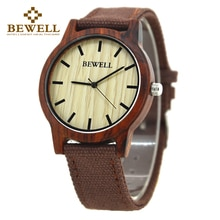 BEWELL NEW Casual Men's Bamboo and Ebony Wooden Watch Canvas Strap Quartz Analog Wrist Watches With