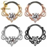 g23titan cz nose rings septum clicker 16g g23 titanium pole fashion body piercing jewelry