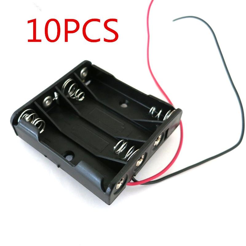 Пластиковый чехол для хранения батарей AAA, 10 шт., держатель в коробке с кабелем 6 дюймов для пайки батарей 4 x AAA, черный цифровой разъем